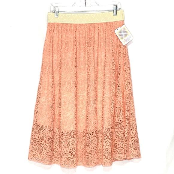 NWT LuLaRoe Lola Pastel Peach Lace Midi Skirt